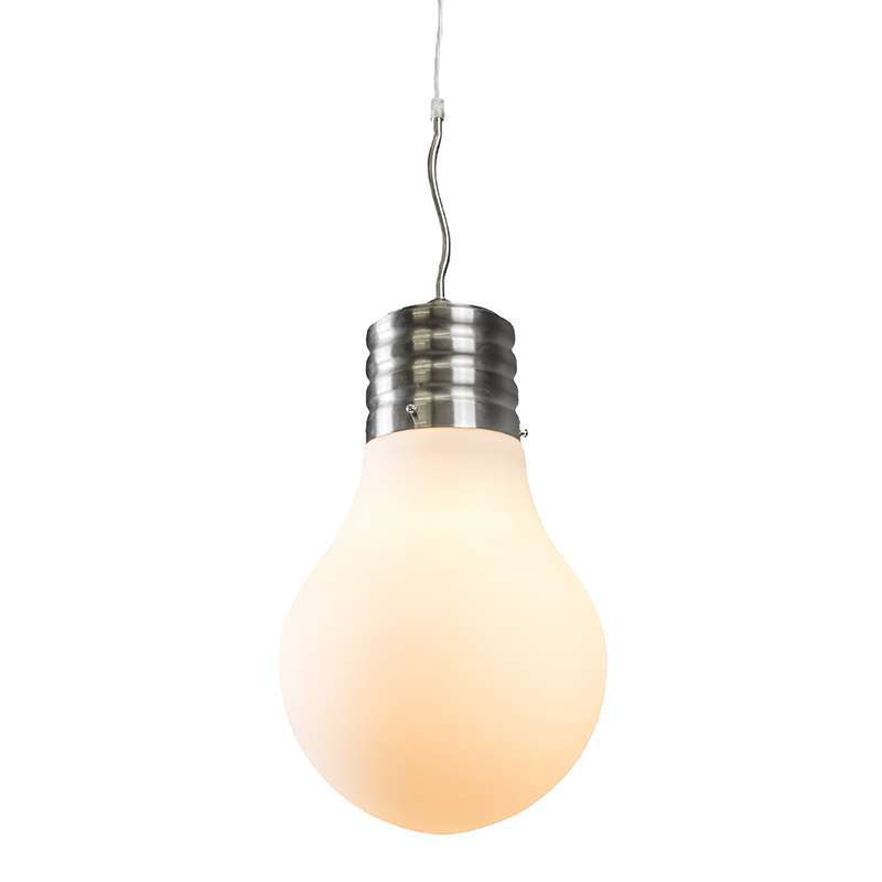 Pendant lamp bulb steel with white opal glass lampandlight eu