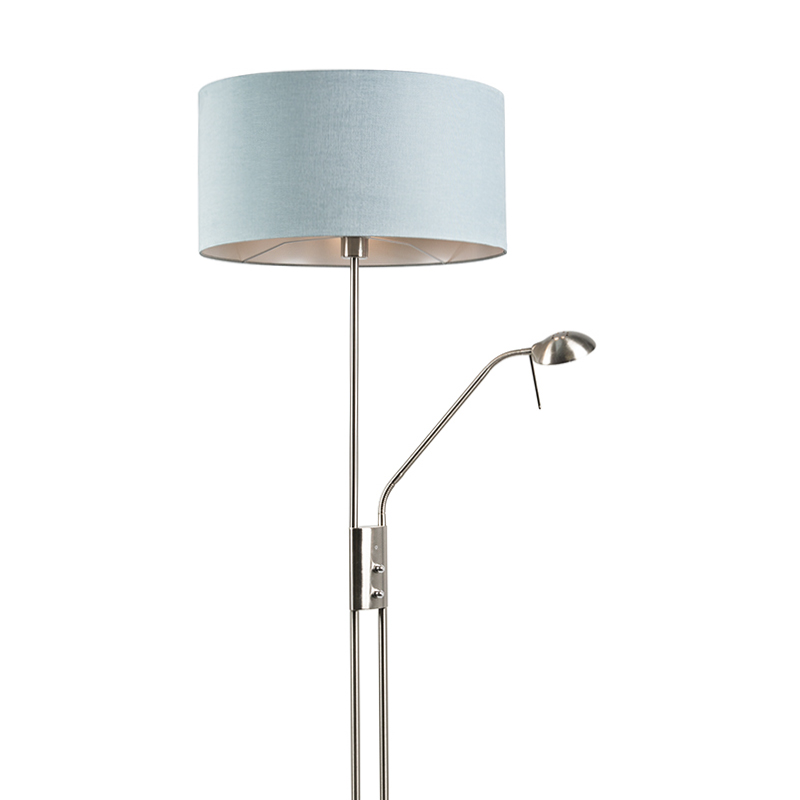 Floor Lamp Steel And Blue With Adjustable Reading Arm Incl Led