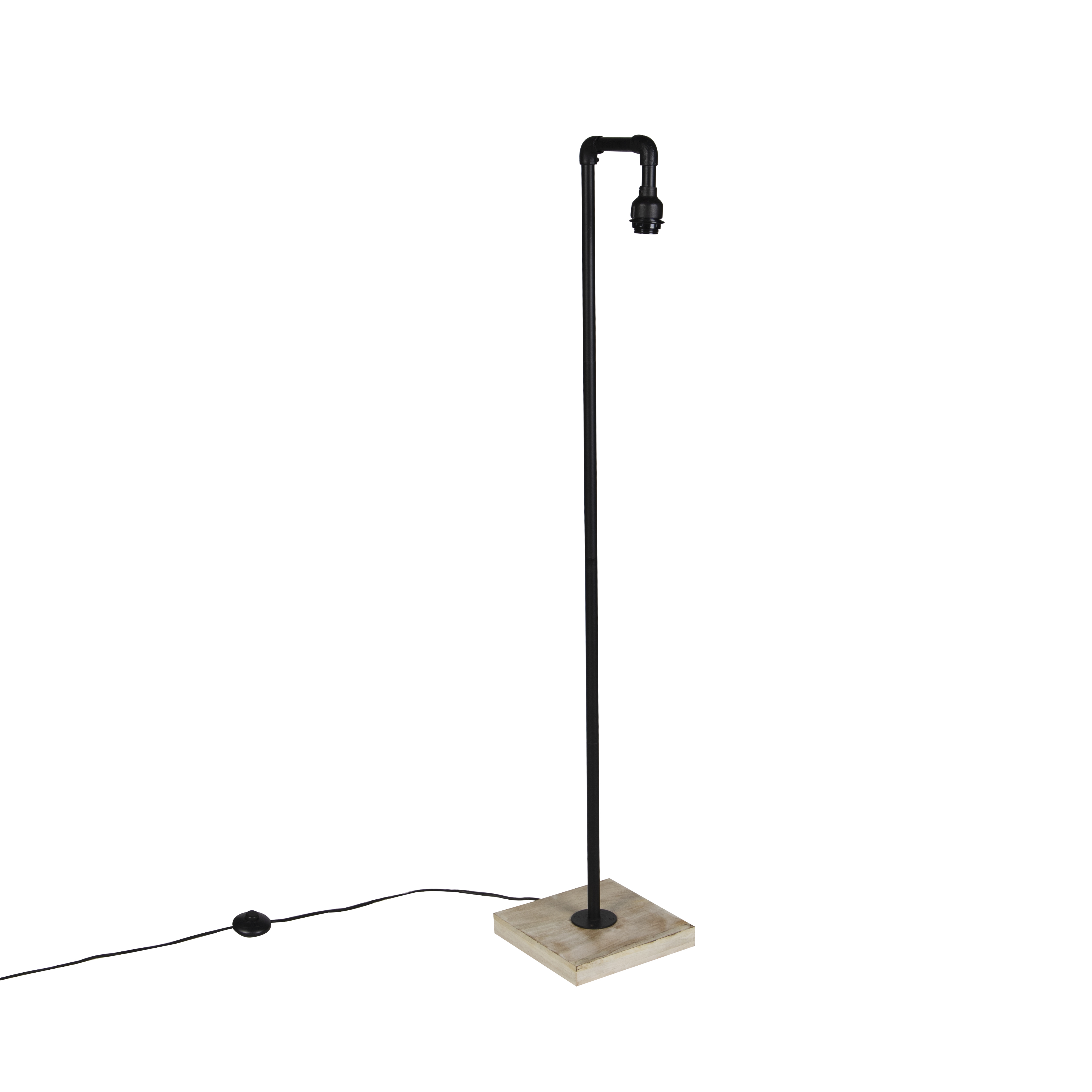 Industrial Floor Lamp Black With Wood Without Shade Tubs Lampandlight