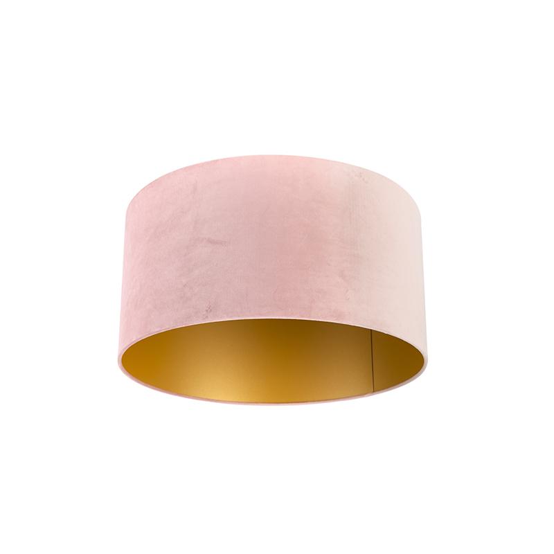 Velvet Shade Blush Pink With Inner Gold, Rose Gold Pendant Lamp Shade