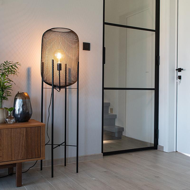 Modern Black Floor Lamp Bliss Mesh