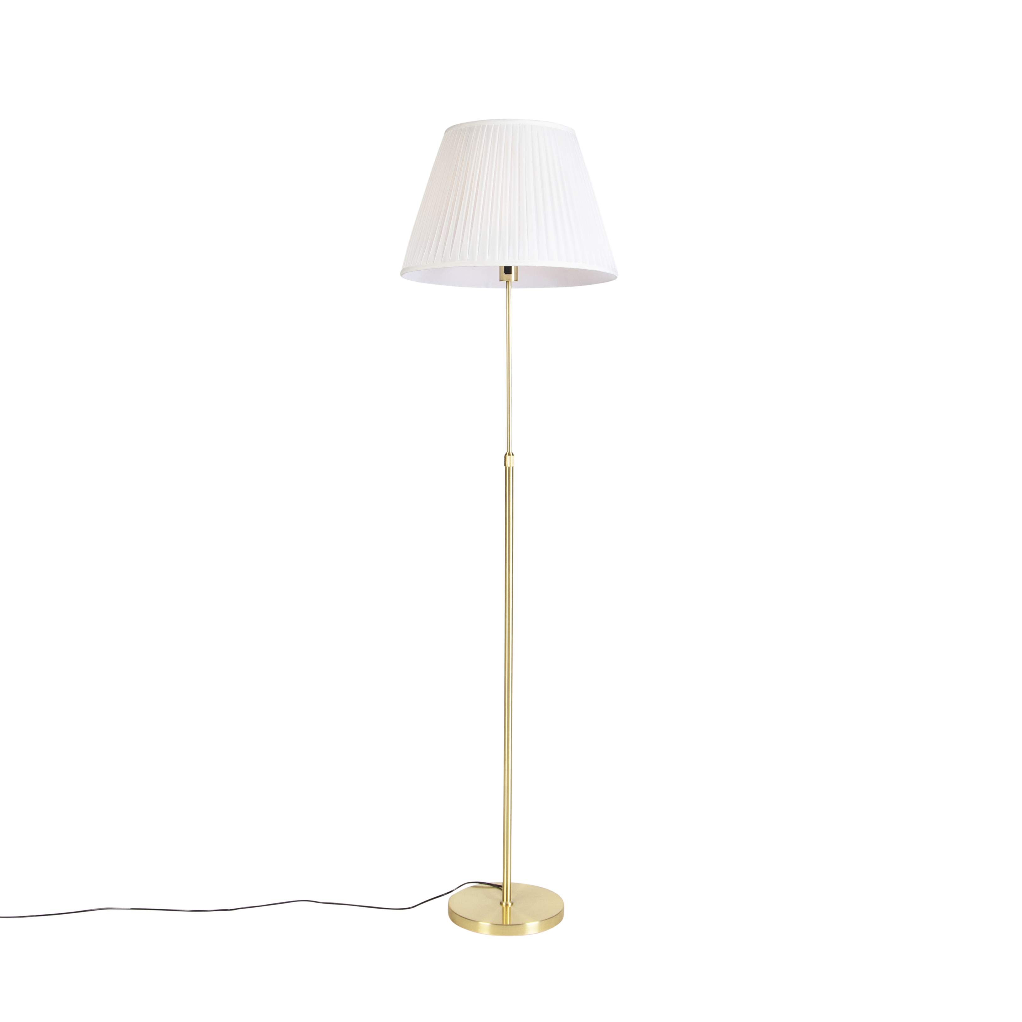 Floor Lamp Gold Brass With 45cm Cream Pleated Shade Parte Lampandlight