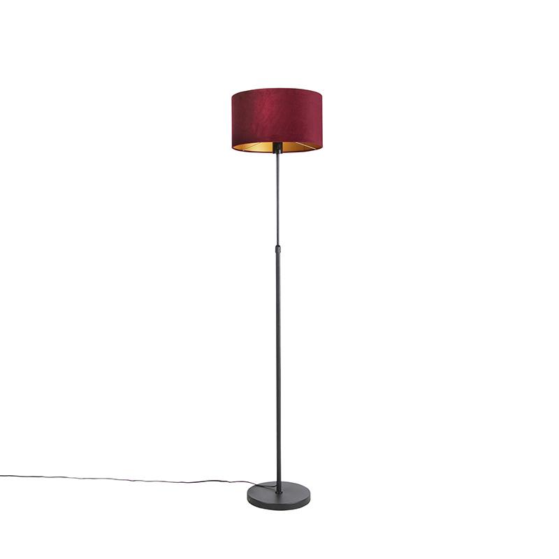Floor Lamp Black With 35cm Red Velvet, Tall Red Lamp