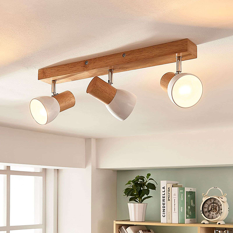 Rural 3 Light Ceiling Spot Wood With