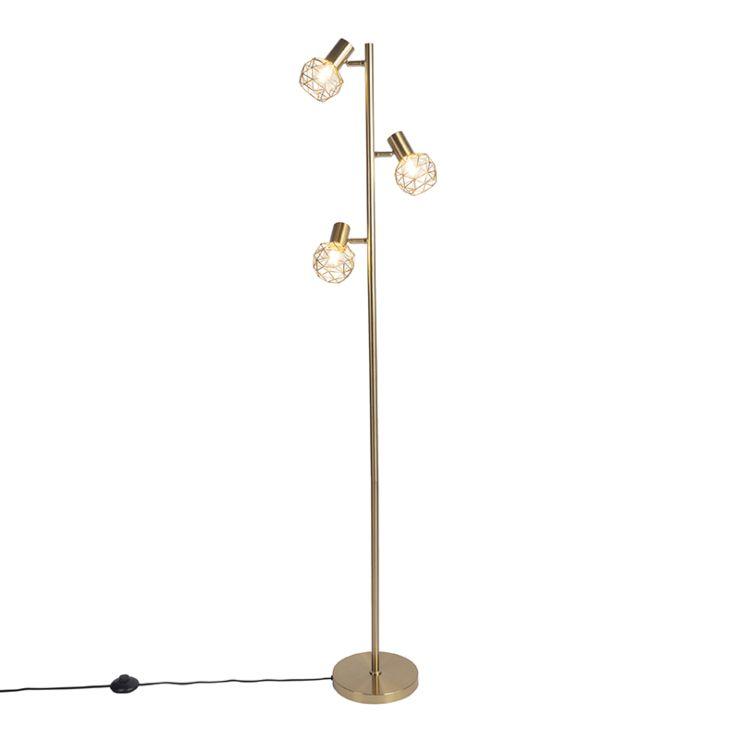Design Floor Lamp Gold 3 Light, Gold Mesh Lamp Shade