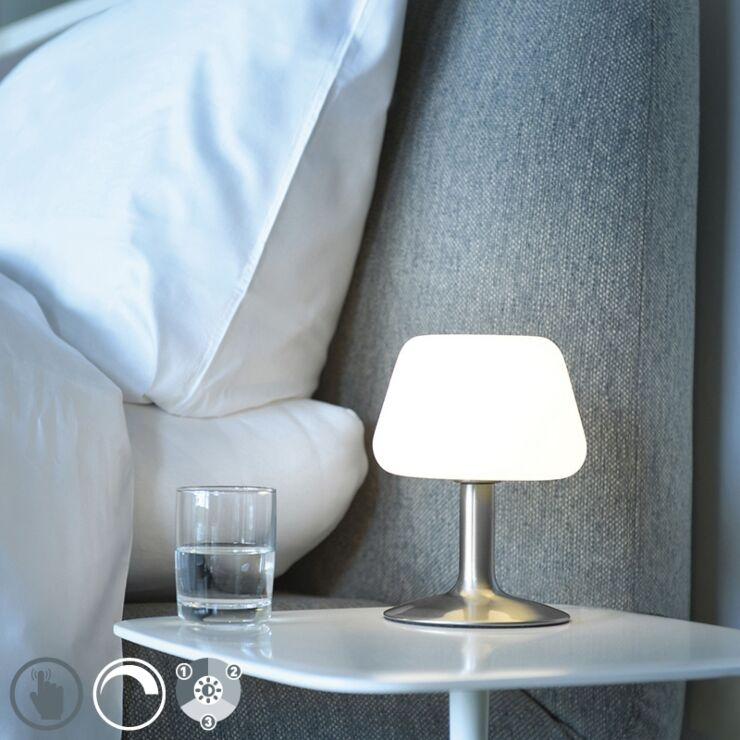 Table Lamp Steel With 3 Step Touch, Touch Control Lamp Dimmer