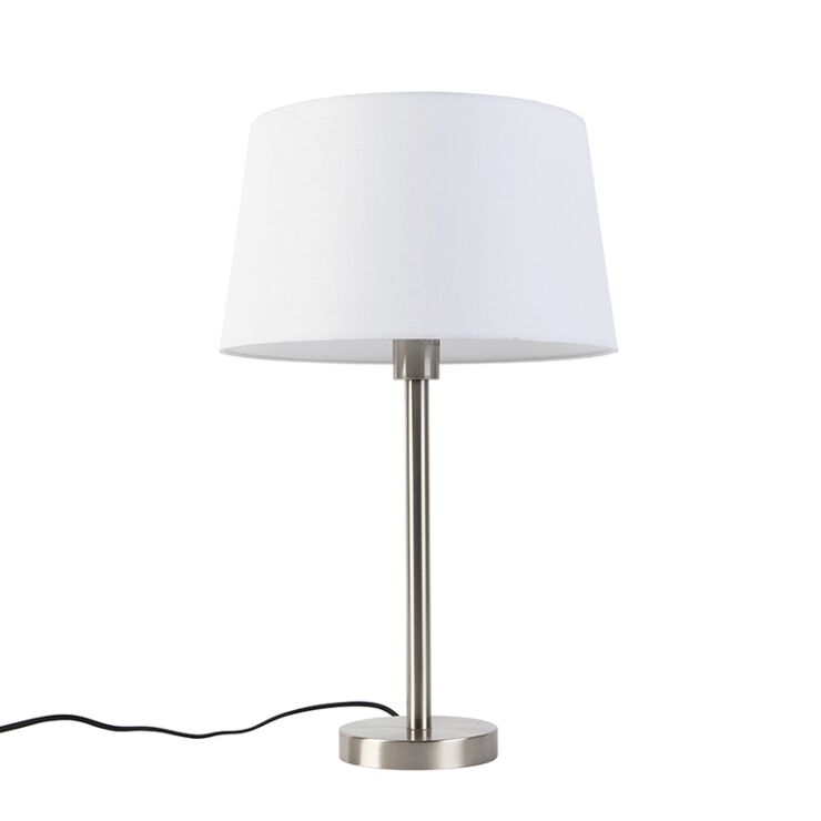 Modern Table Lamp Steel With 32cm White, Metal Desk Lamps Uk