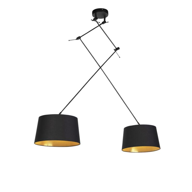 Pendant Lamp With Cotton Shade 35cm, Black And Gold Pendant Lamp Shade