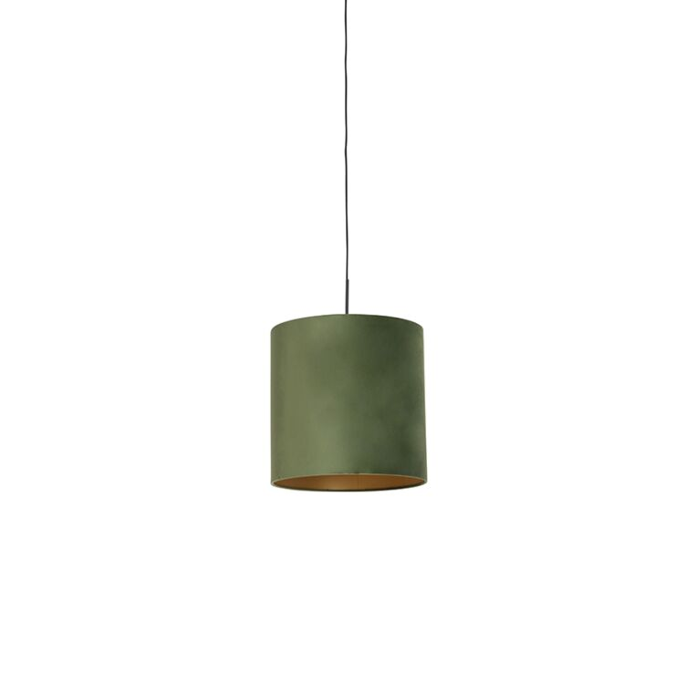Pendant Lamp Black With 40cm Velvet, Sage Color Lamp Shades