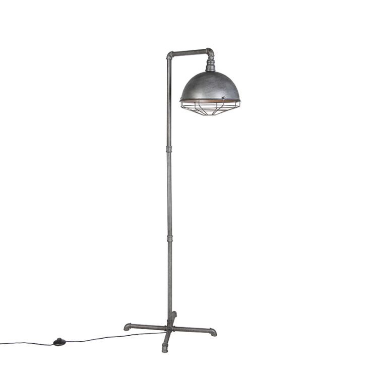 Industrial Floor Lamp Antique Silver, Vintage Silver Floor Lamp