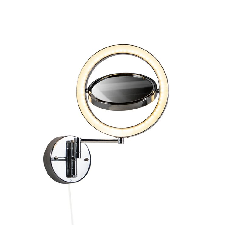 Design Bathroom Mirror Chrome Incl Led Adjustable Ip44 Vicino Lampandlight