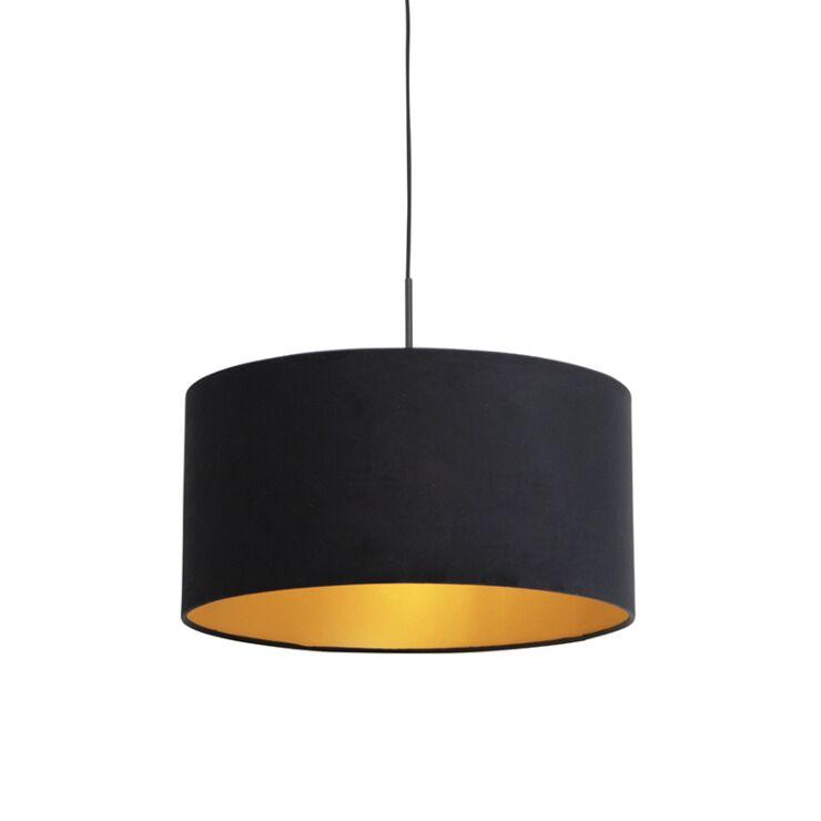 Pendant Lamp Black With 50cm Velvet, Black And Gold Pendant Lamp Shade