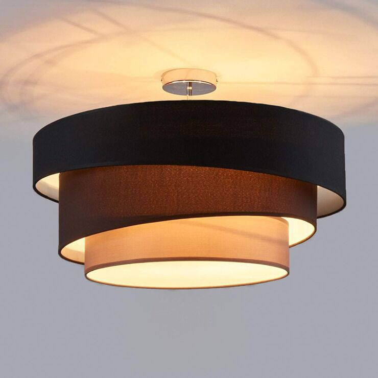 Classic Round Ceiling Lamp Black With 3, Living Room Ceiling Lamp Shades