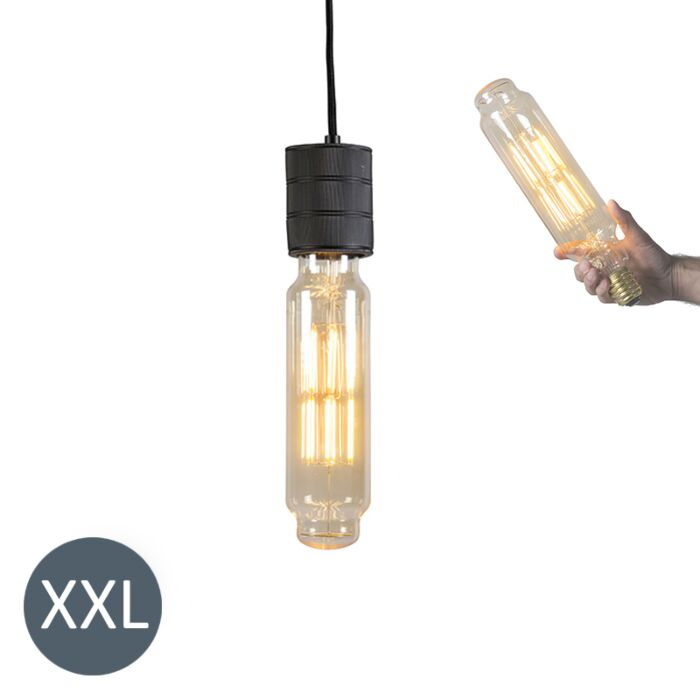 Pendant-Lamp-Tower-Black-with-Dimmable-LED-Bulb