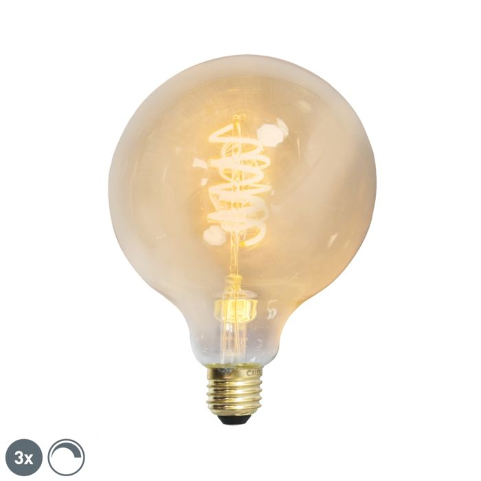 Set-of-3-E27-LED-G125-Gold-Spiral-Filament-4W-200LM-2100K-Dimmable