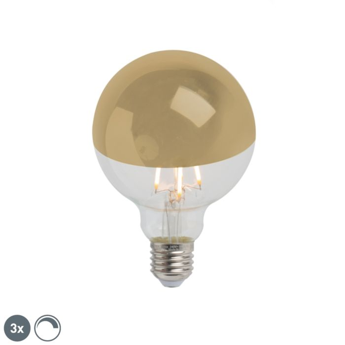 Set-of-3-E27-LED-G95-Gold-Mirror-Head-4W-280LM-2300K-Dimmable