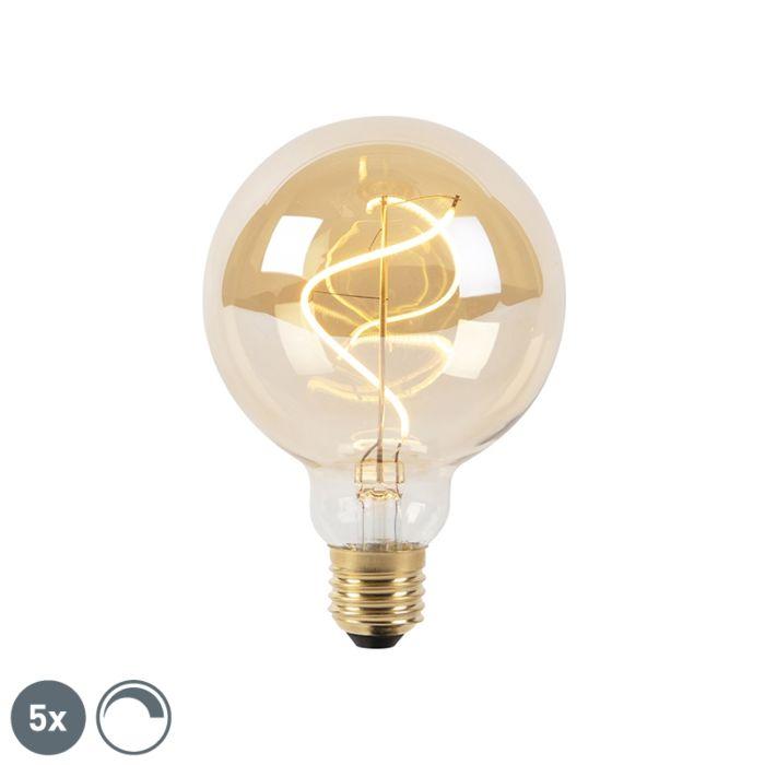 Set-of-5-E27-dimmable-LED-spiral-filament-lamps-G95-goldline