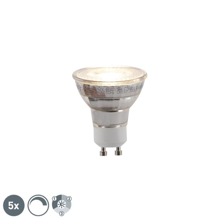 Set-of-5-GU10-3-step-dimmable-LED-lamps-5W-300lm
