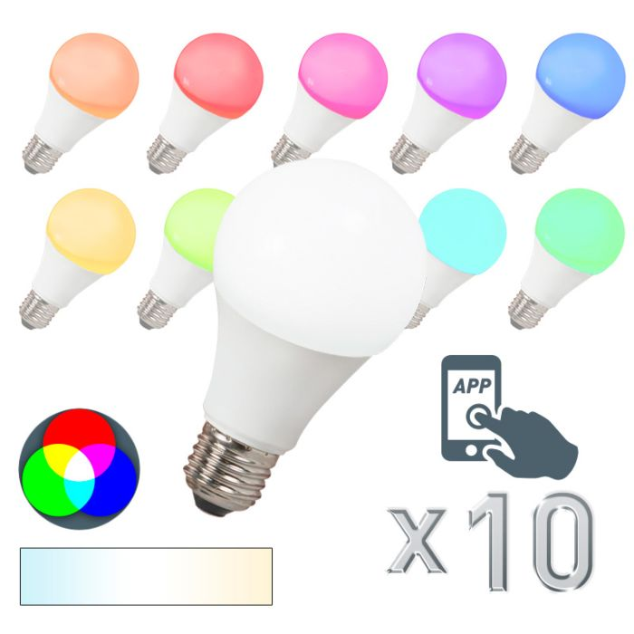 Set-of-10-E27-LED-Smart-RGB-A60-7W-500LM