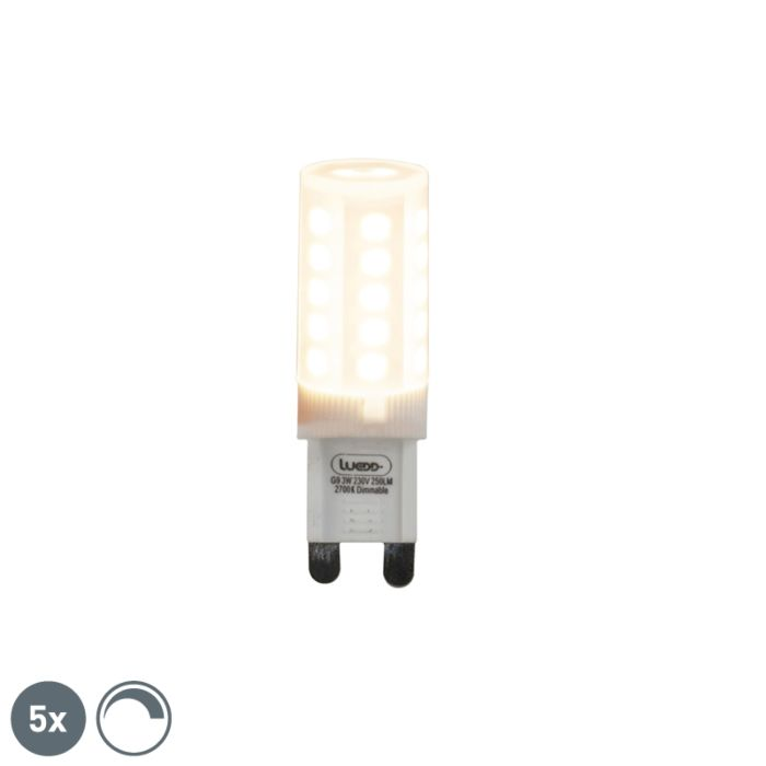 Set-of-5-G9-dimmable-LED-lamps-3W-280-lm-2700K