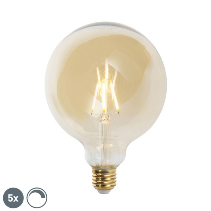 Set-of-5-E27-dimmable-LED-filament-lamps-G125-goldline-2200K