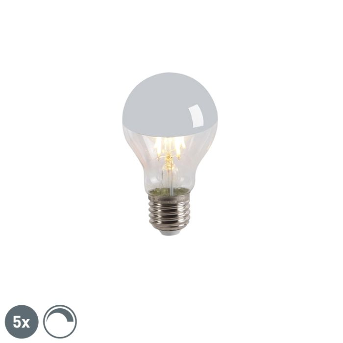 Set-of-5-E27-LED-A60-Silver-Mirror-Head-4W-300LM-2300K-Dimmable