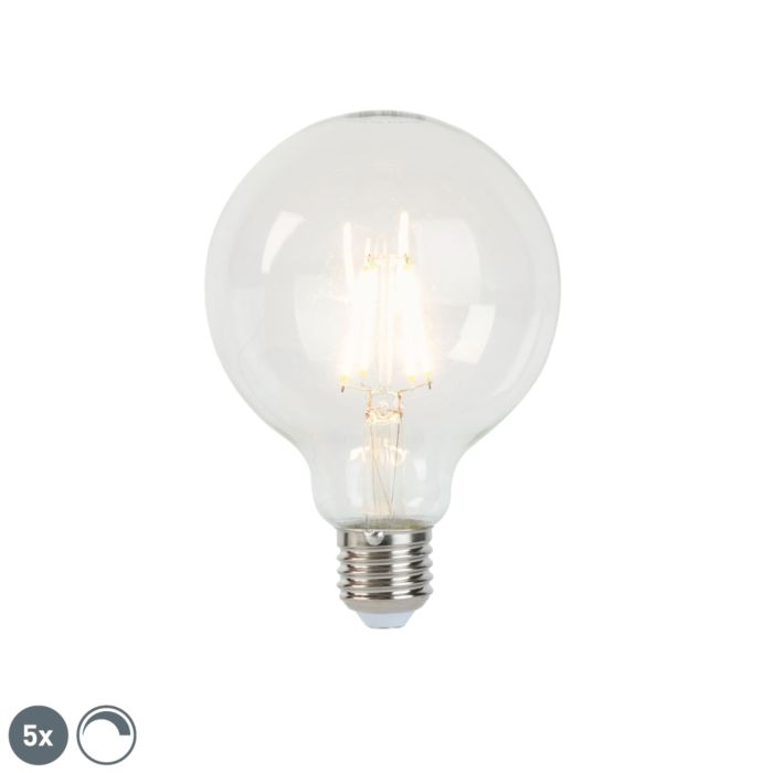 Set-of-5-E27-dimmable-LED-filament-lamps-G95-5W-470-lm-2700K
