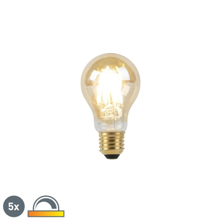 Set-of-5-E27-LED-A60-Gold-Filament-8W-900LM-2000K-2600K