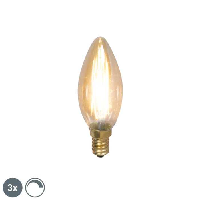 Set-of-3-E14-LED-Candle-Gold-Filament-3.5W-200LM-2100K-Dimmable