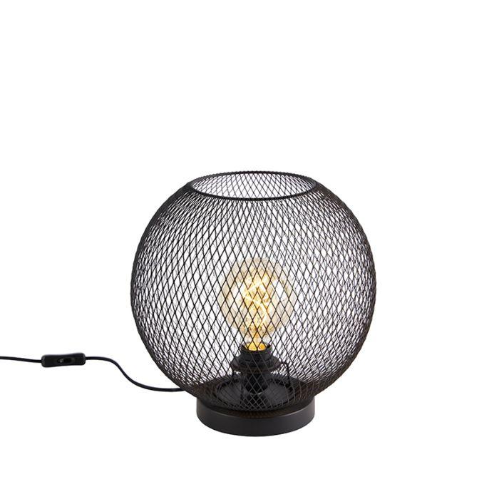 Modern-table-lamp-black---Mesh-Ball