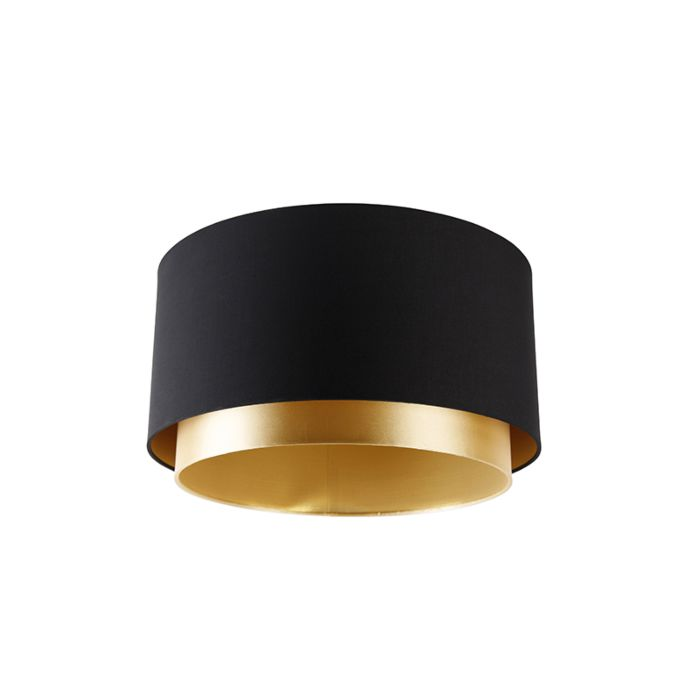 Fabric-lampshade-black-40/47/26-with-golden-interior