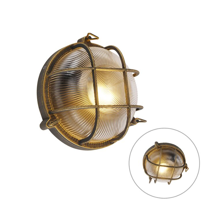 Wall-and-ceiling-lamp-gold-/-brass-round-IP44---Noutica