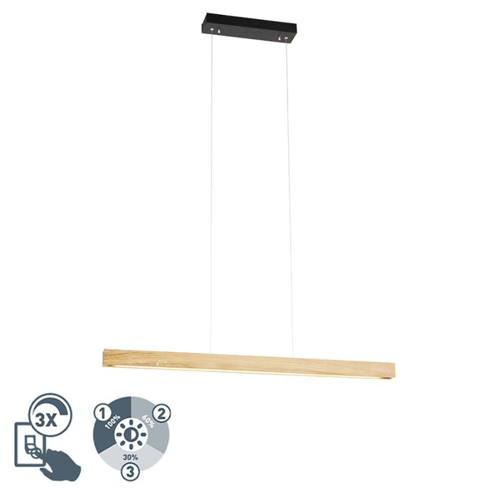 Modern-hanging-lamp-wood-incl.-LED-3-step-dimmable---Holz