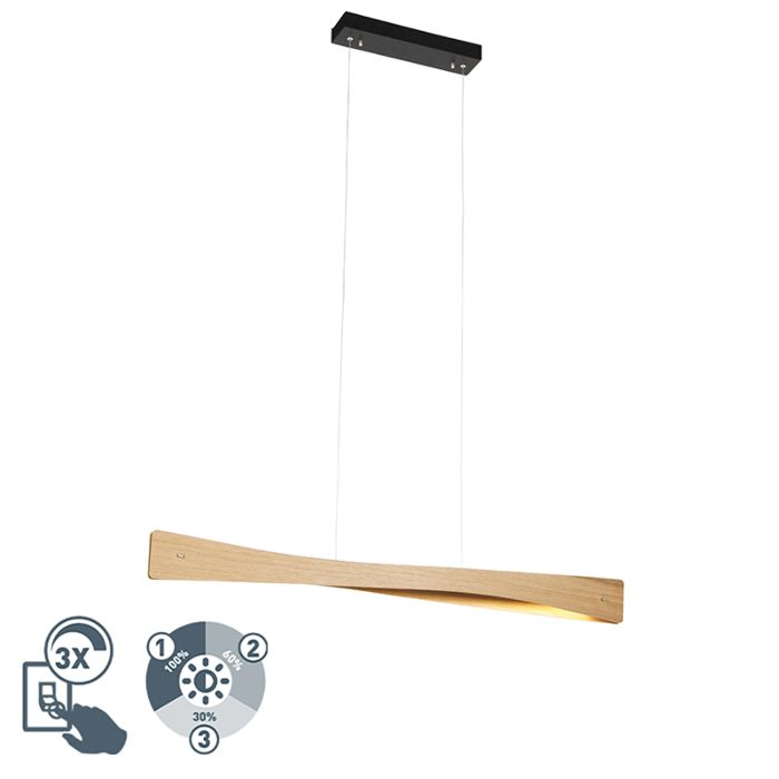 Country-hanging-lamp-wood-incl.-LED-3-step-dimmable---Sjaak
