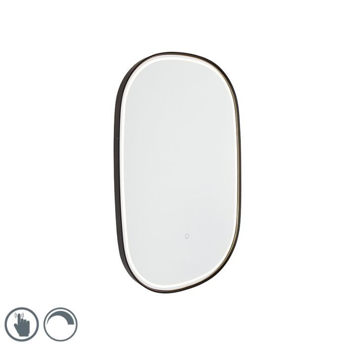 Bathroom-mirror-black-incl.-LED-with-touch-dimmer-oval---Miral