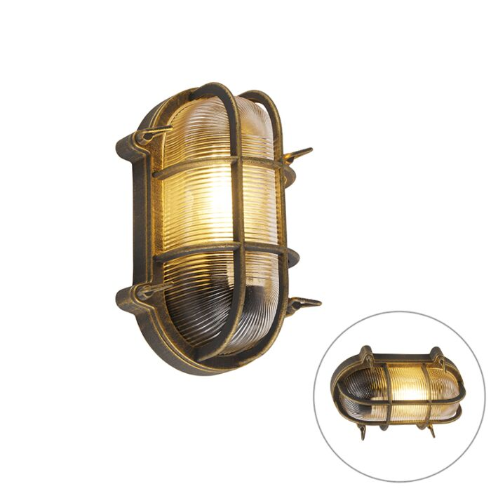 Wall-and-ceiling-lamp-gold-/-brass-oval-IP44---Noutica
