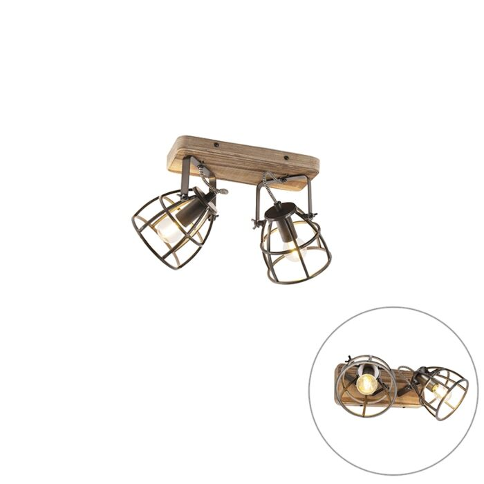 Industrial-spotlight-black-with-wood-adjustable-2-light---Arthur