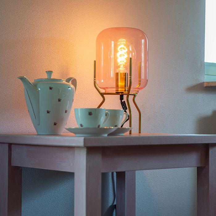 Art Deco Table Lamp Brass Pink Glass Bliss Lampandlight