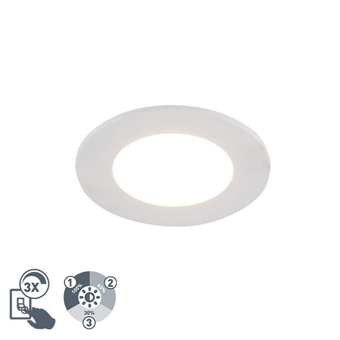White-recessed-spotlight-incl.-LED-3-step-dimmable-IP65---Blanca