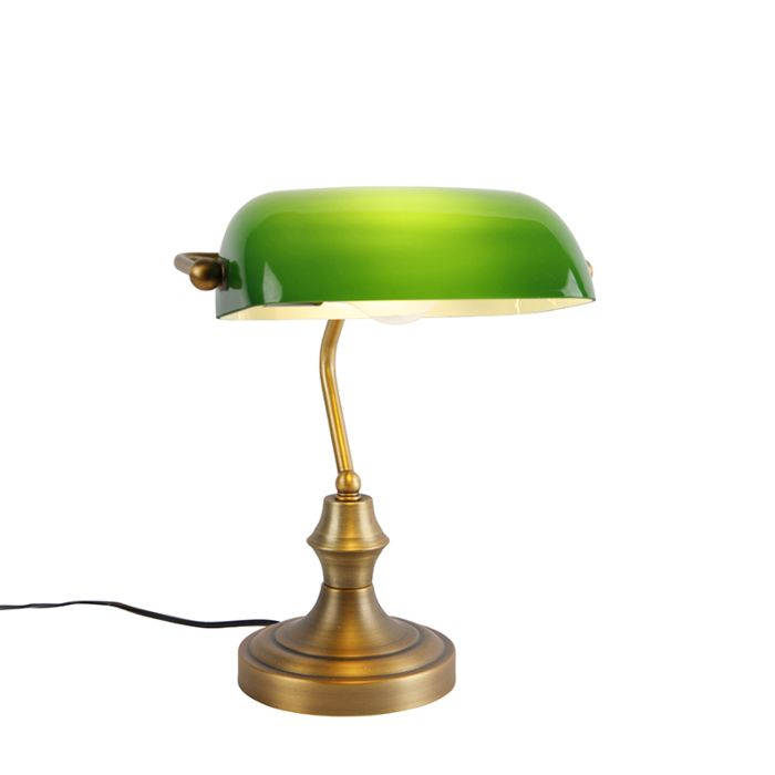 Classic-notary-lamp-bronze-with-green---Banker