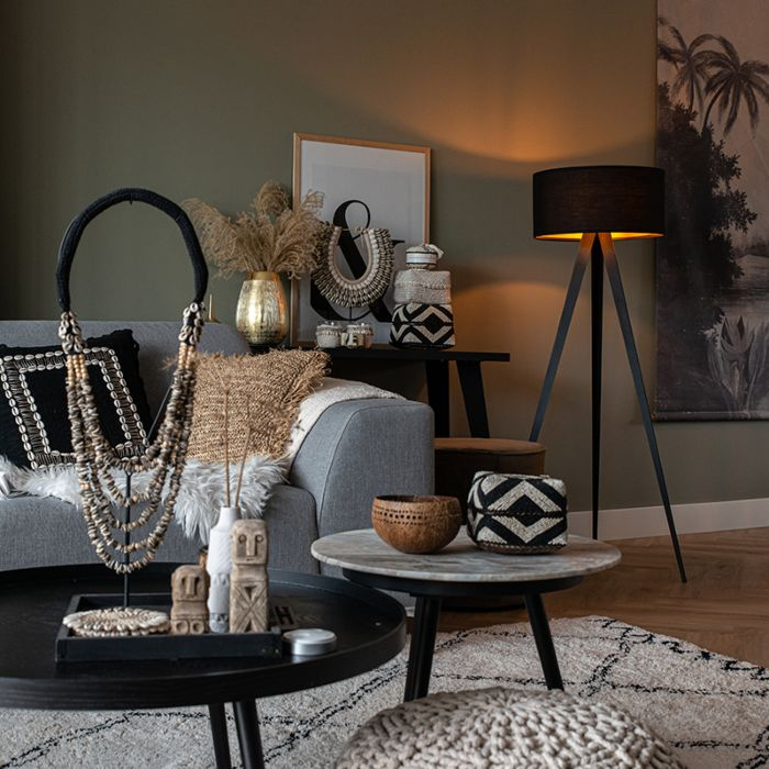 Black-floor-lamp-with-black-shade-and-gold-interior---Tripe