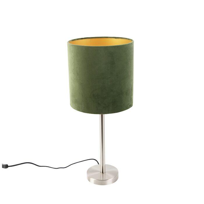 Modern Table Lamp Steel With 25cm Velvet Green Shade Simplo Lampandlight