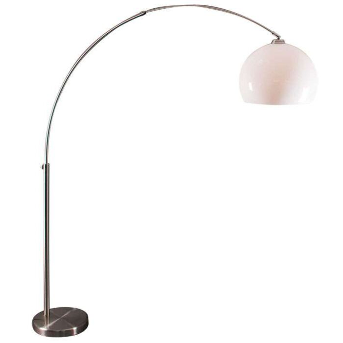 Arc-Lamp-Staal-with-White-Plexi-Shade.