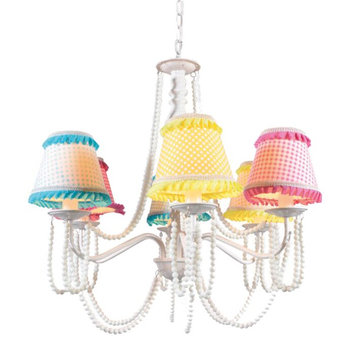 Chandelier-Twiddle-6-White-with-Coloured-Shades