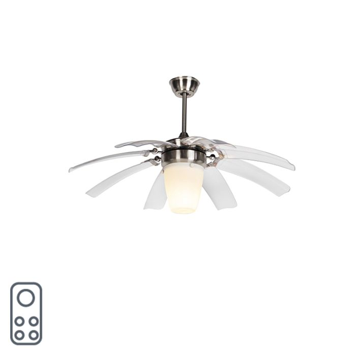 Ceiling-fan-silver-with-remote-control---Wings-42-steel