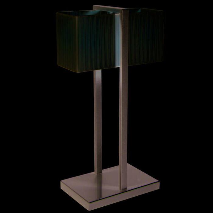 Table-Lamp-Lars-Silver-Gray-with-Plisee-Shade-Creme