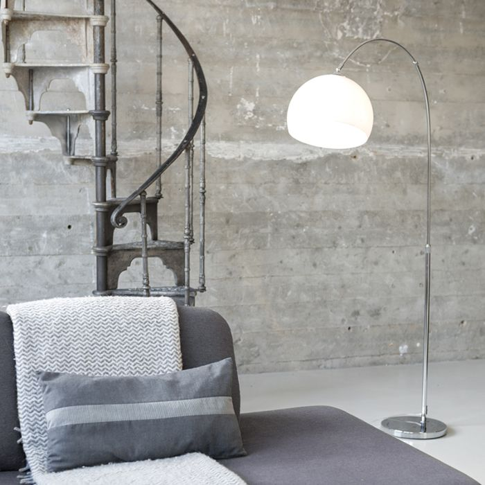 Modern-arc-lamp-chrome-with-white-shade---Arc-Basic