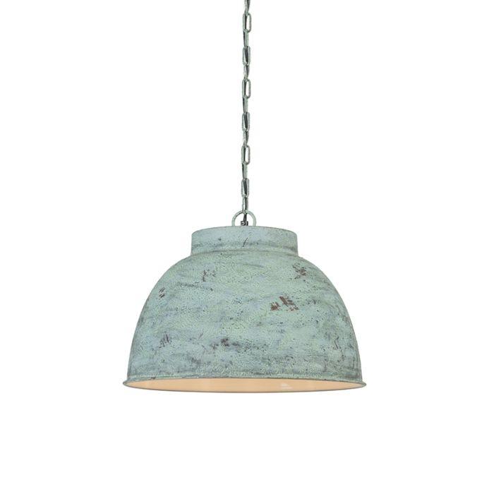 Vintage-Large-Pendant-Lamp-Antique-Green