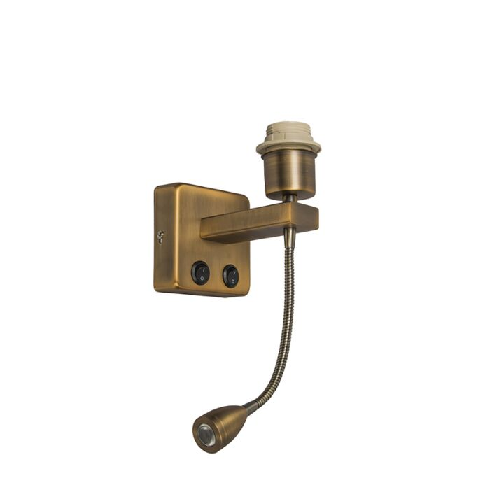 Wall-lamp-bronze-incl.-LED-with-reading-arm---Brescia-Combi