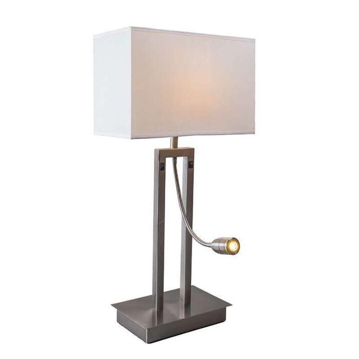 Table-lamp-Bergamo-steel-with-cream-white-shade